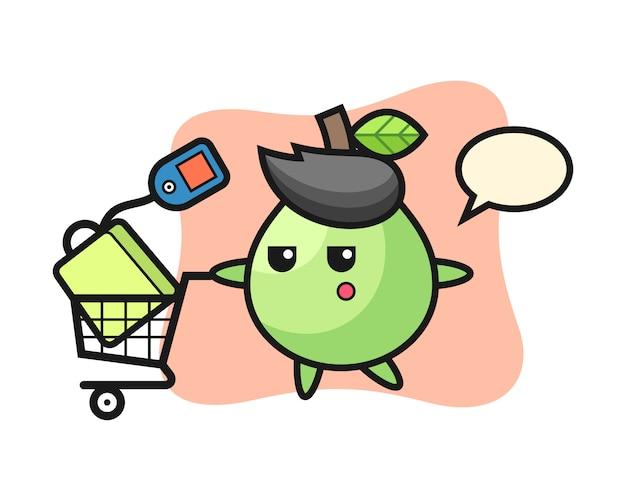 Dibujos animados de ilustración de guayaba con un carrito de compras, estilo lindo para camiseta, pegatina, elemento de logotipo