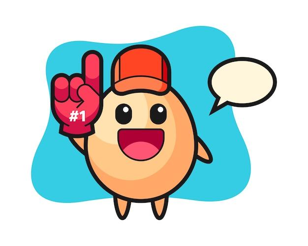 Dibujos animados de ilustración de huevo con guante de fanáticos número 1, estilo lindo para camiseta, pegatina, elemento de logotipo