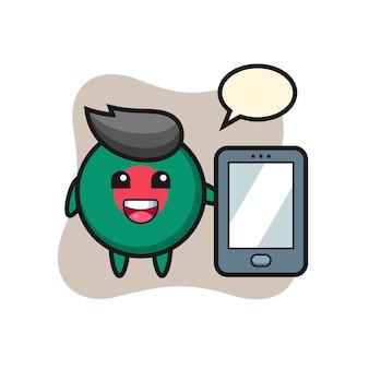 Dibujos animados de ilustración de insignia de bandera de bangladesh sosteniendo un teléfono inteligente, diseño de estilo lindo para camiseta, pegatina, elemento de logotipo