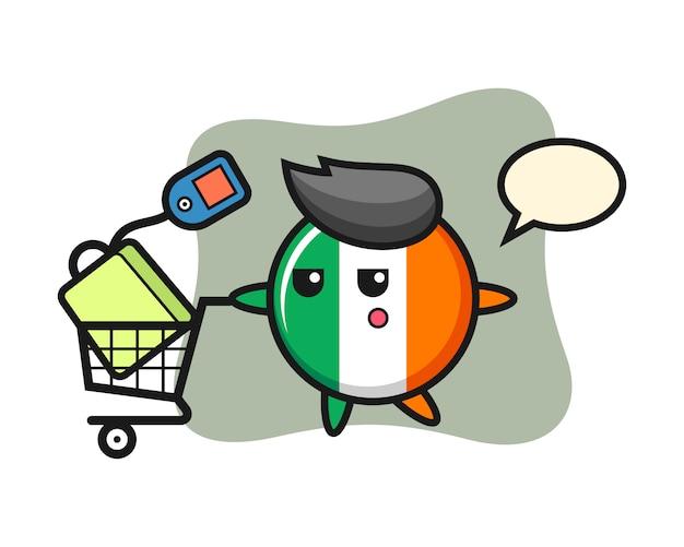 Dibujos animados de ilustración de insignia de bandera de irlanda con un carrito de compras