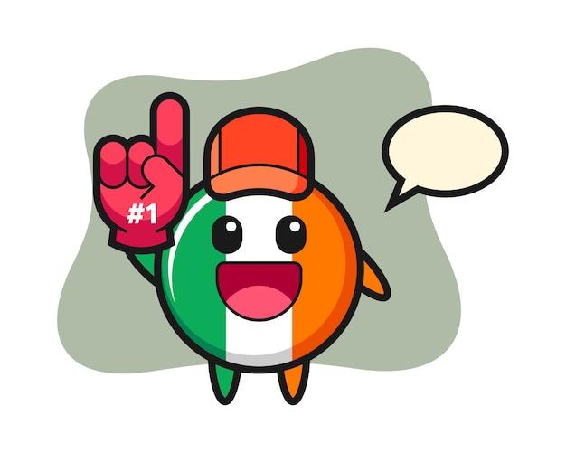 Dibujos animados de ilustración de insignia de bandera de irlanda con guante de ventiladores de número