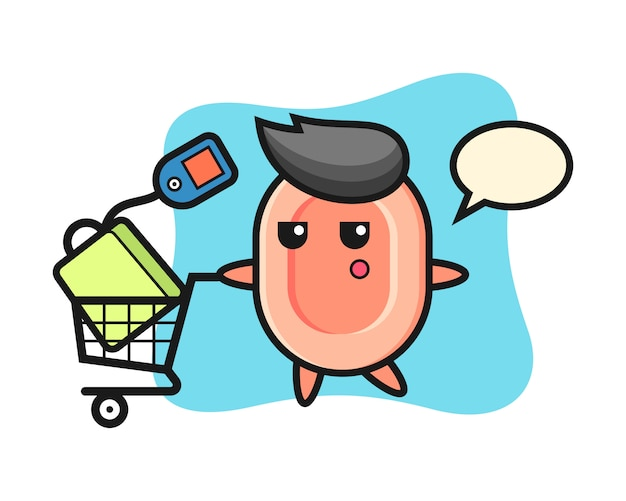 Dibujos animados de ilustración de jabón con un carrito de compras, estilo lindo para camiseta, pegatina, elemento de logotipo
