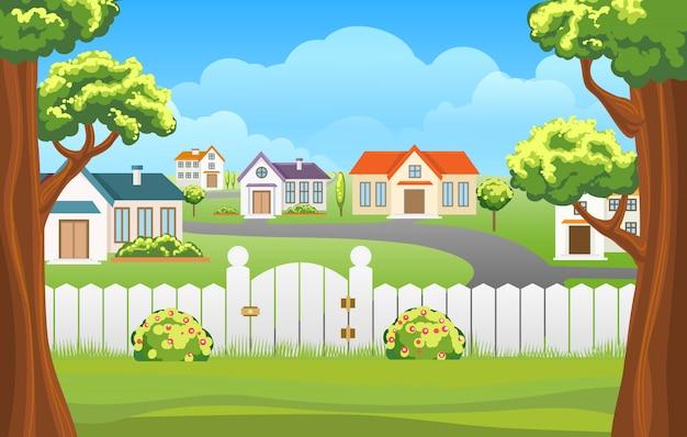 Dibujos animados de ilustración de patio al aire libre