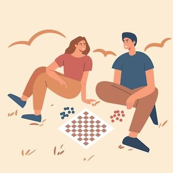 Dibujos animados de ilustración vectorial de dos niños y niñas jugando al ajedrez entre sí.