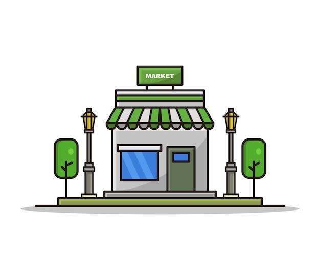 Dibujos animados ilustrados de mercado