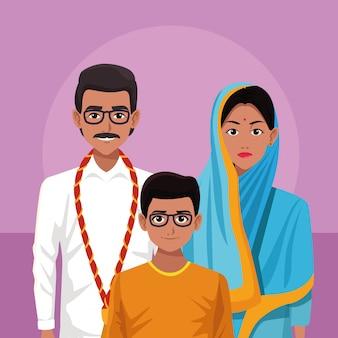 Dibujos animados de india familia india