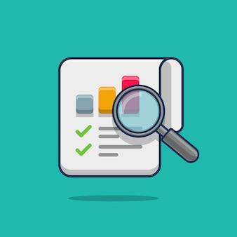 Dibujos animados de informe de investigación de auditoría