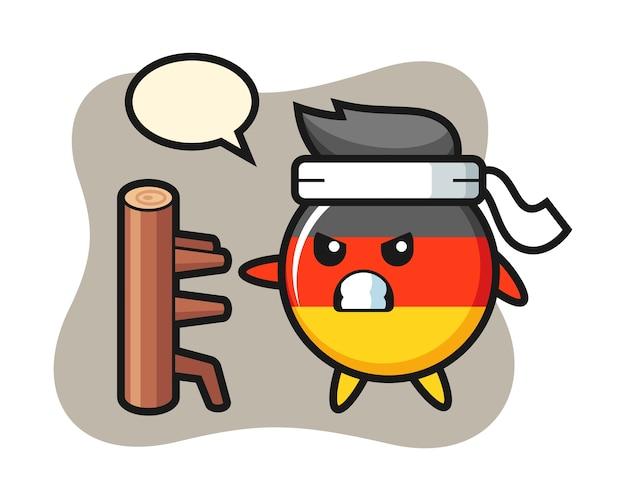Dibujos animados de insignia de bandera de alemania como un luchador de karate