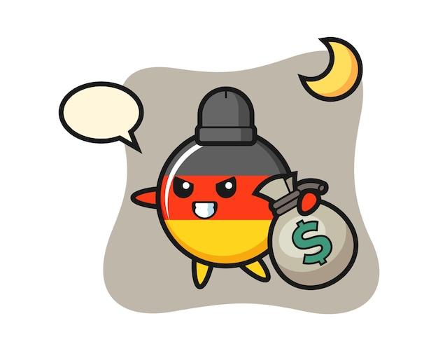 Dibujos animados de la insignia de la bandera de alemania se roba el dinero