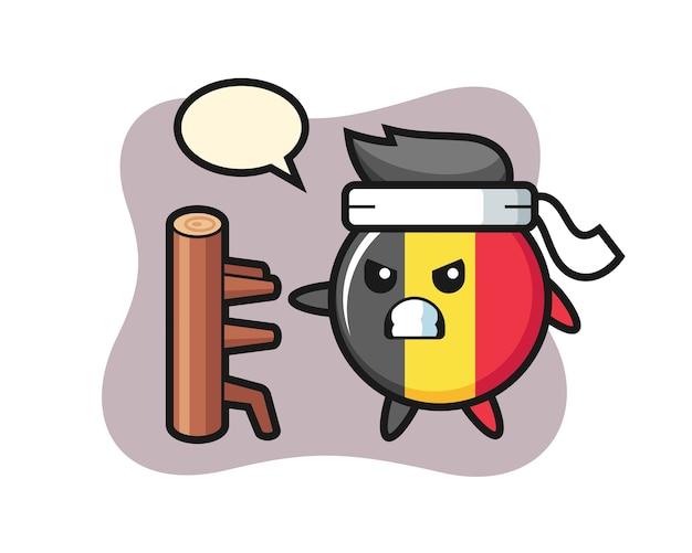 Dibujos animados de insignia de bandera de bélgica como un luchador de karate