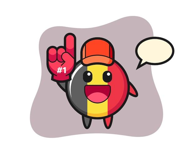 Dibujos animados de insignia de bandera de bélgica con guante de fans número 1