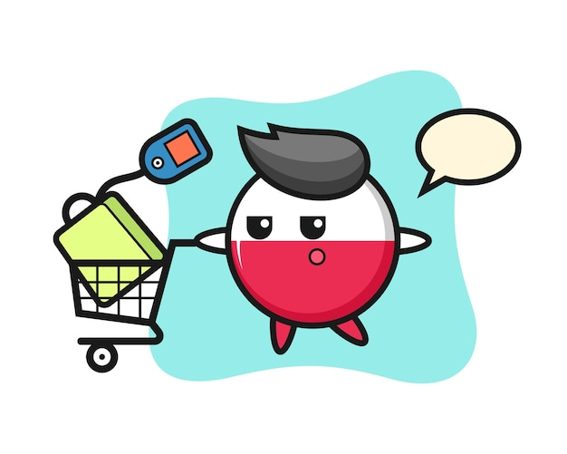 Dibujos animados de insignia de bandera de polonia con un carrito de compras