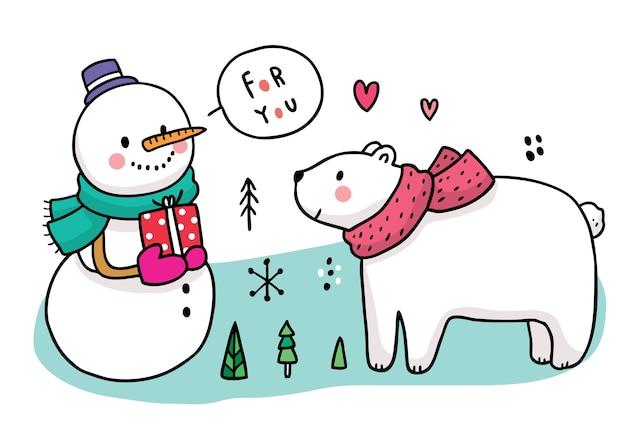 Dibujos animados de invierno lindo, muñeco de nieve dar regalo para oso polar.