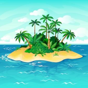 Dibujos animados de la isla del océano. palmeras mar islas deshabitadas cielo arena playa sol panorama vista soledad naturaleza tropical ilustración