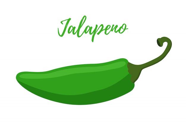 Dibujos animados de jalapeño plano. guindilla verde caliente