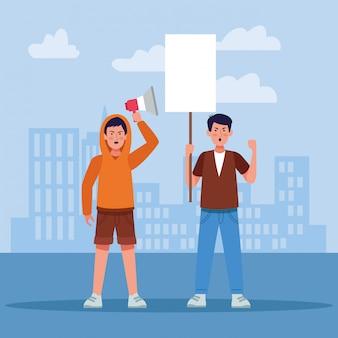 Dibujos animados jóvenes protestando con cartel en blanco y megáfono