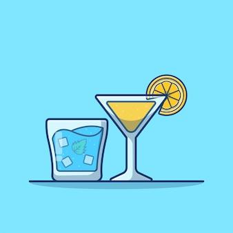 Dibujos animados de jugo de naranja y agua helada aislado en azul