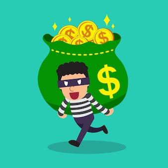 Dibujos animados de un ladrón con una gran bolsa de dinero