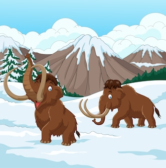 Dibujos animados lanudos mamut caminando por un campo cubierto de nieve