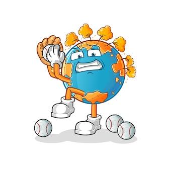 Dibujos animados de lanzador de béisbol de tierra de otoño. mascota de dibujos animados