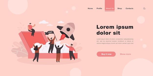 Dibujos animados lanzando una nueva página de inicio de proyecto empresarial en estilo plano