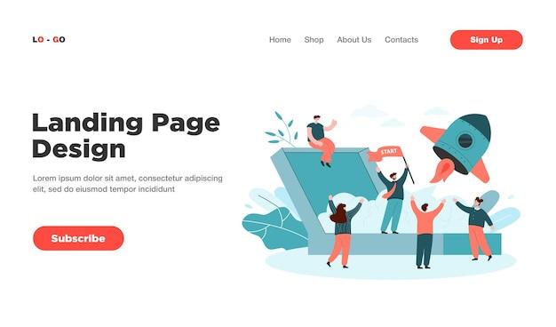 Dibujos animados lanzando nueva página de inicio de proyecto empresarial