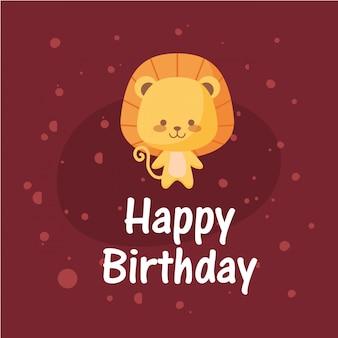 Dibujos animados de león y feliz cumpleaños