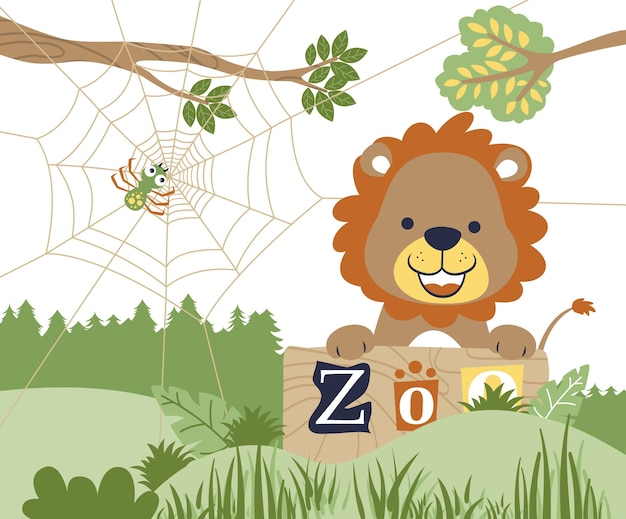 Dibujos animados de león feliz en el zoológico