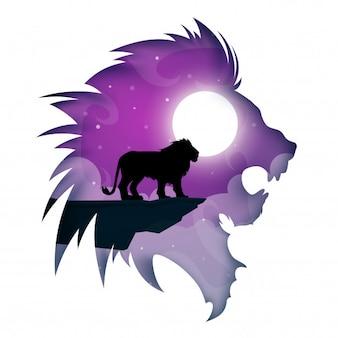 Dibujos animados de león de papel. paisaje nocturno