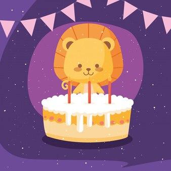 Dibujos animados de león con pastel de feliz cumpleaños