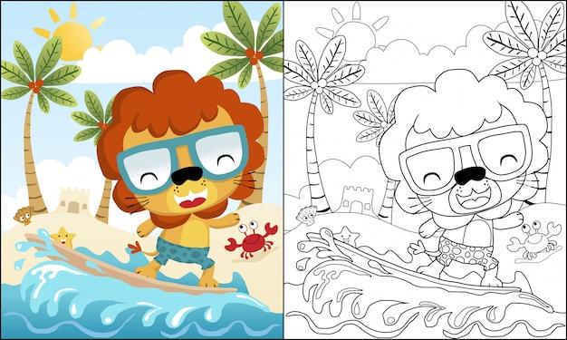 Dibujos animados de león surfeando en la playa