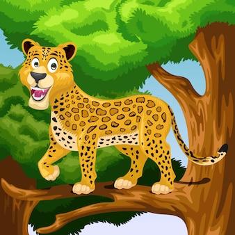 Dibujos animados de leopardo en el árbol