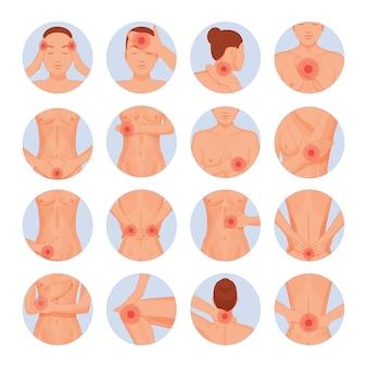Dibujos animados de lesiones físicas de partes del cuerpo humano.