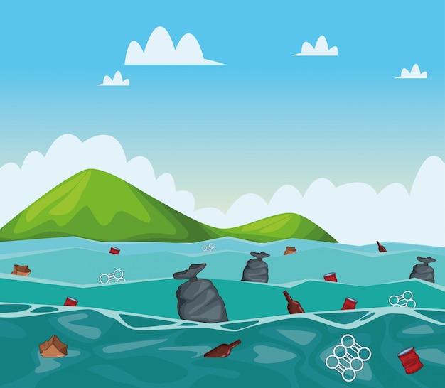 Dibujos animados de limpieza de mar