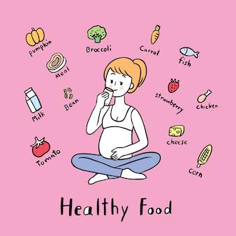 Dibujos animados linda mujer embarazada y vector de alimentos útiles.