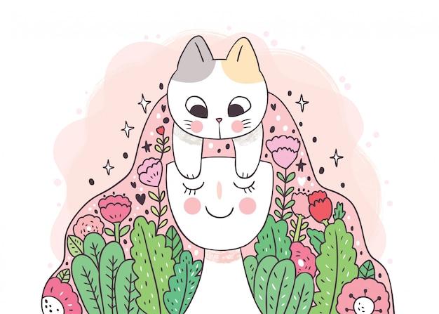 Dibujos animados linda mujer y gato y bella flor