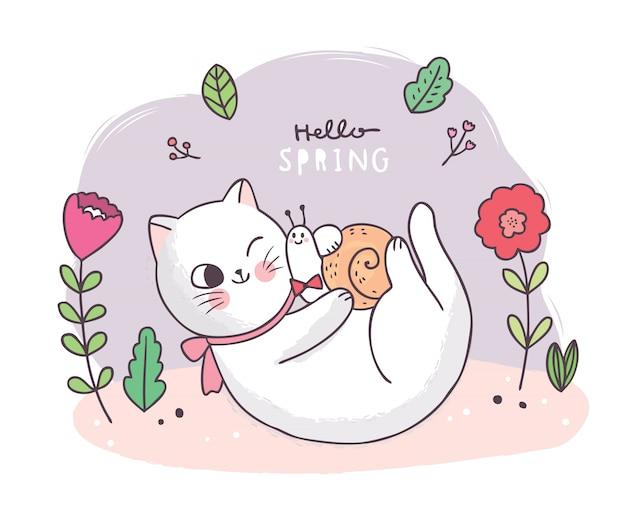 Dibujos animados linda primavera, gato y caracol y flor