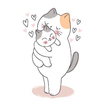 Dibujos animados lindo adorable madre y bebé gato besos.