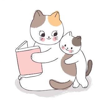 Dibujos animados lindo adorable madre y bebé gato leyendo libro