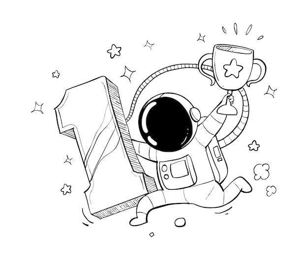 Dibujos animados lindo astronauta