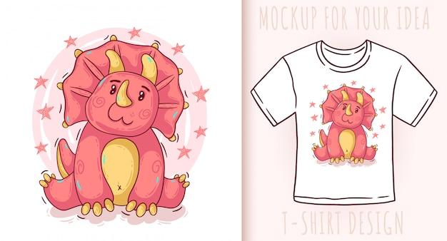 Dibujos animados lindo bebé dinosaurio triceratops.
