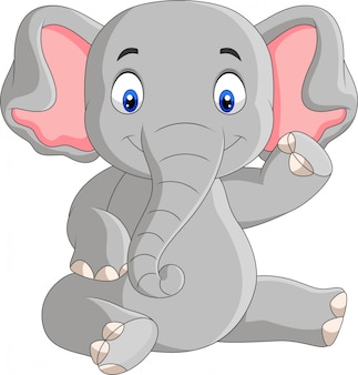 Dibujos animados lindo bebé elefante sentado