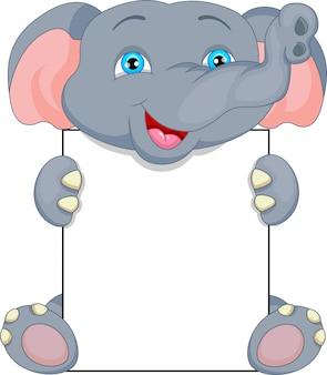Dibujos animados lindo bebé elefante y signo en blanco