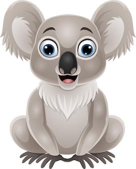 Dibujos animados lindo bebé koala sentado