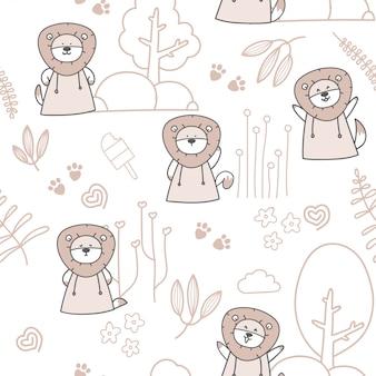 Dibujos animados lindo bebé león de patrones sin fisuras