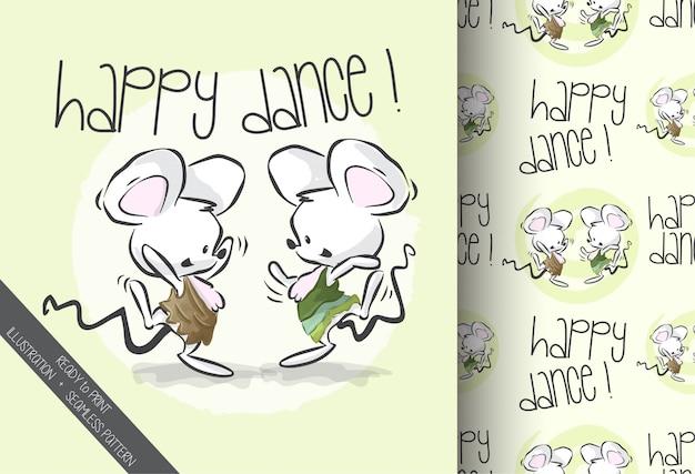 Dibujos animados lindo bebé ratón feliz bailando de patrones sin fisuras