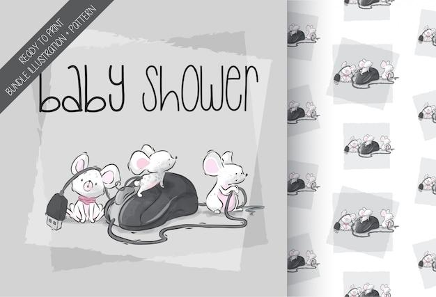 Dibujos animados lindo bebé ratón feliz jugando de patrones sin fisuras