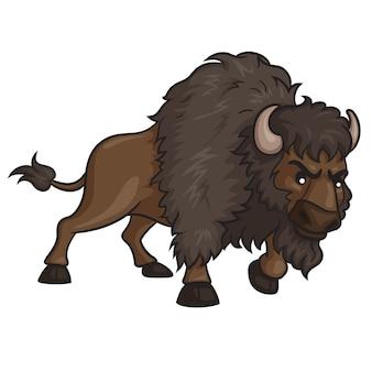 Dibujos animados lindo bisonte