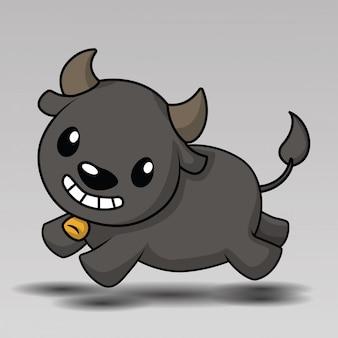 Dibujos animados lindo búfalo posando para usted diseño