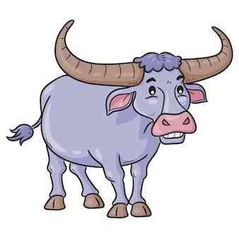 Dibujos animados lindo búfalo